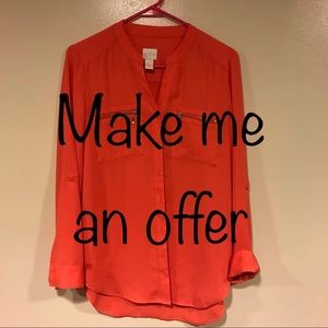Chico's Long Sleeve Blouse Sz 0 in Coral